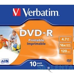 Verbatim  Диски DVD-R Verbatim 16-x, 4.7 Gb, Printable (Jewel Case, 10шт.) ( 43521)