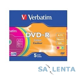 Verbatim  Диски DVD-R Verbatim 16-x (Colour, Slim Case, 5 шт) (43557)