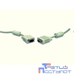 Gembird/Cablexpert CC-PPVGA-10m, Кабель VGA Premium ,  15M/15M, 10м, серый, тройной экран, феррит.кольца