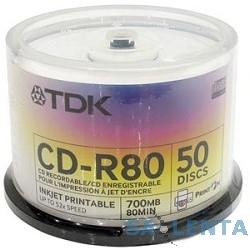 TDK  Диски CD-R  t19514 80min 52X, 50шт,Photo Print (CD-R80PWWCBA50) Cake Box