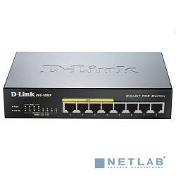 D-Link DGS-1008P/D1A Неуправляемый коммутатор с 8 портами 10/100/1000Base-T, функцией энергосбережения и поддержкой QoS (4 порта с поддержкой PoE 802.3af/802.3at (30 Вт), PoE бюджет 68 Вт)