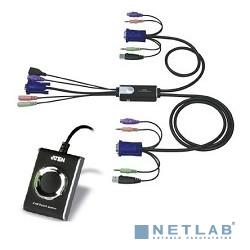 ATEN CS52A(-A7) 2-портовый KVM-переключатель со встроенными консольным и KVM кабелями (1,2м), 1 user HDB