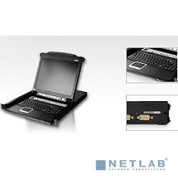 ATEN CL5708M-AT(A)-RG KVM Переключатель 8-ми портовый, 19'', с 17'' LCD монитором 1280x1024 и клавиатурой, 2 пользователя, с KVM-шнурами PS2 1х1.8м.;USB 1x1.8м., исп.спец.шнуры, OSD каскад 256 с подсв