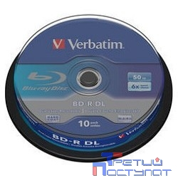 Verbatim Диск BD-R  6-x, 50 Gb,  Cake Box 10шт диски (43746)