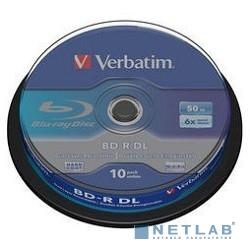 Verbatim Диск BD-R  6-x, 50 Gb,  Cake Box 10шт диски (43746)