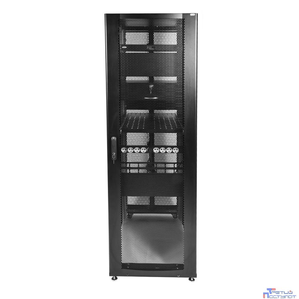 ЦМО! Шкаф серверный ПРОФ напольный 48U (600x1200) дверь перфорированная 2 шт., цвет черный, в сборе (ШТК-СП-48.6.12-44АА-9005)