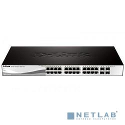 D-Link DGS-1210-28P/F1A Настраиваемый коммутатор WebSmart с 24 портами 10/100/1000Base-T с поддержкой PoE и 4 портами 1000Base-X SFP