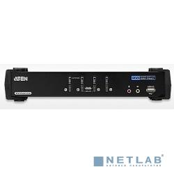 ATEN CS1784A Переключатель, электрон., KVM+Audio+USB 2.0, 1 user USB+DVI => 4 cpu USB+DVI, со шнурами USB 4х1.8м., 2560x1600 60Hz DVI-D Dual Link/2048x1536 DVI-A, настол., исп.стандарт.шнуры