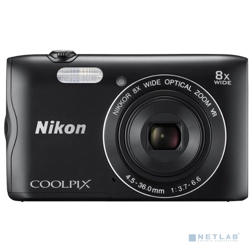 Nikon Coolpix A300 черный {20.1Mp, 8x zoom, SD, Wi-Fi, BT, USB}